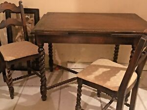 Antique Victorian Oak Barley Twist Draw Leaf Kitchen Dinette Set Table 4 Chairs