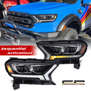 For 19 21 Ford Ranger Alpharex Pro Series Projector Sequential Headlight Black