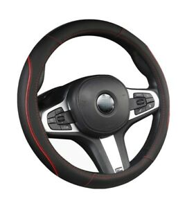 Leather Steering Wheel Cover Universal Fit 14 5 15 Inch Black And Red