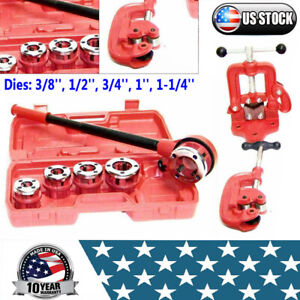 Pipe Threader Ratchet Type With 5 Dies Set Clamp On Pipe Vise 2 pipe Cutter