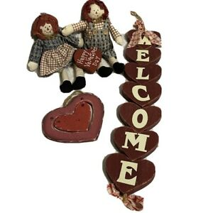 Heart Shape Wooden Valentine Wall Decorations Raggedy Ann And Andy Set