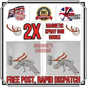 2x Gravity Feed Paint Spray Gun Holder Magnetic With 2 Hanging Hook Holds 4 5kg