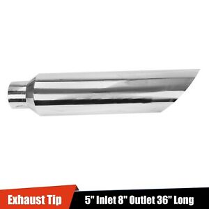 Diesel Truck Exhaust Stack Tip Stainless Miter Angle 5 Inlet 8 Outlet 36 Long