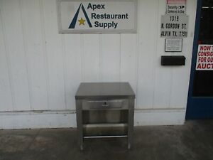 All Stainless Table Cabinet Stand Table With Drawer 30x25x36 5685