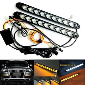 Car Led Amber And White Switchback Flowing Strip Arrow Flash Turn Signal Light