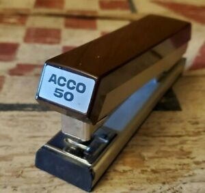 Acco 50 Stapler brown cream Working Condition Vintage Made In The U s a
