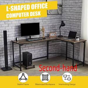 Secondhand L Shaped Gaming Computer Corner Desk W Cable Management 53x19 72x19