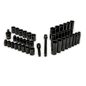 Husky Impact Set 44 piece Chamfered Lead in Deep Length Impact Socket Black