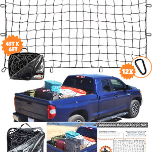 4 x6 Super Duty Truck Cargo Net For Pickup Truck Bed Stretches To 8 x12 1
