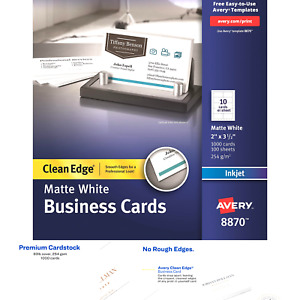 Avery Printable Business Cards Inkjet Printers 1 000 Cards 2 X 3 5 Clean