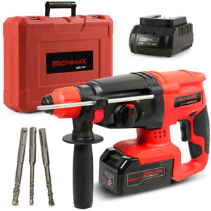 20v Cordless 3 In 1 Lithium ion Sds Plus Rotary Hammer Drill 3 Mode W drill Bits