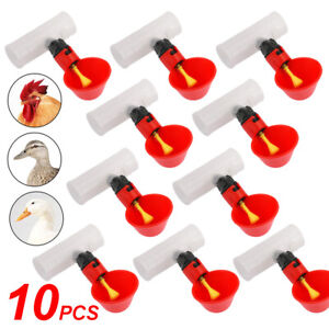 10x Poultry Water Drinking Cups pipe Fitting Chicken Automatic Drinkers Coop Ah9