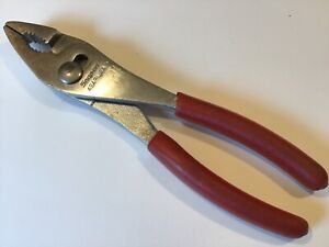 Snap On Large Combination Slip Joint Pliers W red Grip Handles 49ap fre Ship