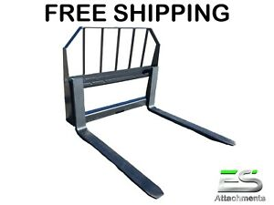 48 Es Pallet Fork Attachment Skid Steer Quick Attach Mount Free Shipping