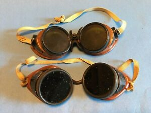 Vintage Welder Steampunk Goggles Green Clear Lenses lot Of Two Made In Usa