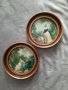 Vintage Victorian Small 7 Round Gold Frame Italy 2 Pictures