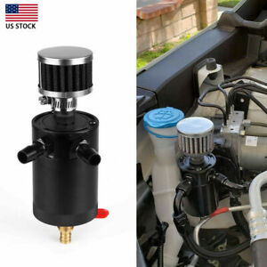 Universal 2 port Oil Catch Can Tank Reservoir With Drain Valve Breather Filter