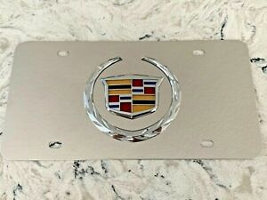 Cadillac Mirror Chrome Stainless Steel Metal Front License Plate With Caps