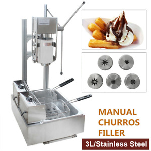 3l Stainless Steel Commercial Manual Spanish Churro Making Machine 12 Fryer New
