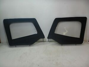 Jeep Wrangler Yj 87 95 Black Vinyl Soft Top Upper Half Door Pair Free Shipping