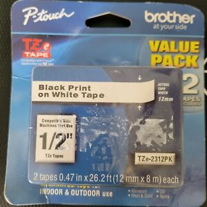 Brother P touch Tz 2312pk Black Print On White Tape 1 2 2 Tape Value Pack