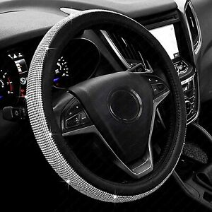 Diamond Sparkle Steering Wheel Cover For Silver With Bling Crystal Rhinestones