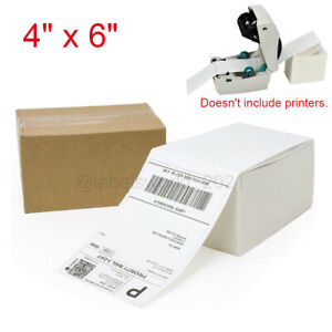 500 2000 4 x6 Fanfold Direct Thermal Shipping Labels For Zebra Rollo Printers