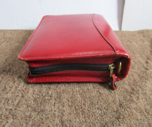 Franklin Covey Red Full Grain Leather 6 ring Zip Planner