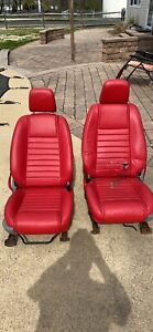 2006 Mustang Convertible Oem Complete Set Of Red Leather Seats