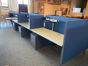 Lot Of 6 5 x2 x49 h Cubicles benching Stations By Knoll Office Furniture