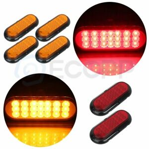 4x 6 21 Led Rubber Yellow 2x Red 12v Universal Tail Signal Lamp For Semi Truck