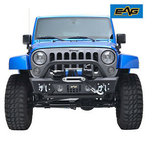 Eag Fit For 07 18 Jeep Wrangler Jk Stubby Front Bumper With Fog Light Hole