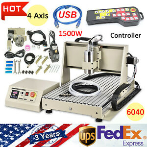 Usb 4 Axis 6040 Cnc Router Engraver Drill Milling Machine Wood Art 1 5kw Vdf rc