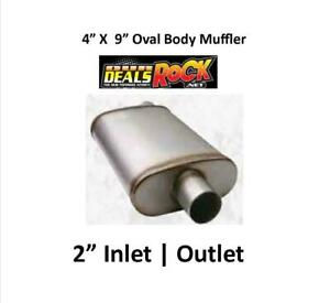 Performance Exhaust Stainless Muffler 2 In Out 4 X 9 Oval Body