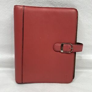 Day timer Pink Breast Cancer Ribbon Leather Classic 7 Ring Planner Organizer