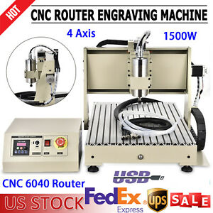 4 Axis 1 5kw Wood Cnc 6040 Router Usb Engraving Drilling Machine Water Cooling