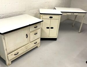 Vintage 3 Piece Porcelain Enameled Kitchen Table Cabinets