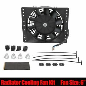 Universal 6 Inch Slim Electric Radiator Cooling Fan Mount Kit Black