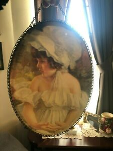Victorian Girl Picture Link Frame Oval Print