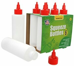 pack Plastic Squeeze Bottles Condiment 8 ounce With Red Twist cap Set Of 8oz 6