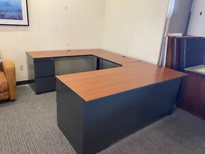 Executive U shape Desk By National Office Furniture W Cherry Laminate Top