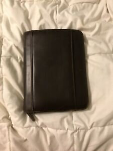 Brown Leather 3 Ring Binder In Good Condition