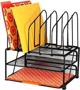 Black Mesh Desk Organizer With Double Tray And 5 Upright Sections Desktop Shelf