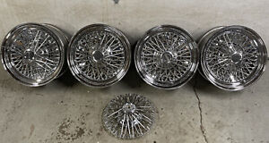 Set Of 4 Vintage American Racing Wire Basket Wheels 14x6 4 Lug