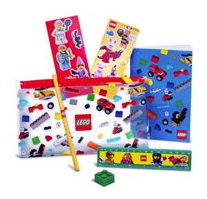 New Lego Stationary 5005969 Pencil Case Eraser Notebook Ruler Stickers
