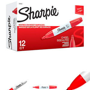Sharpie 38202 Permanent Markers Chisel Tip Red 12 count
