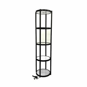 Usa black 81 Round Portable Aluminum Spiral Tower Display Case With Shelves