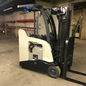 2010 Crown Rc5540 40 4000lbs Used Stand Up Forklift W quad Mast 2019 Battery