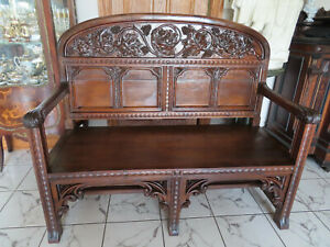 Antique American New England 19 C Carved Bench