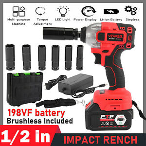 Electric Brushless Cordless Impact Wrench Drill 21v 1 2 330nm High Torque Tool